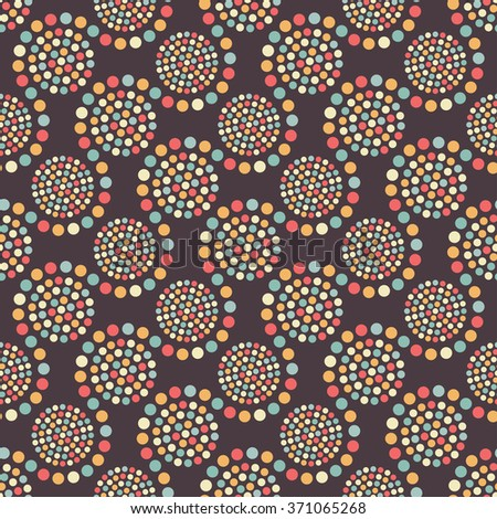 Portugal mosaic inspired seamless tiled geometric wavy chocolate color background of colorful small and big circles in garland. Dotted pattern. Vector Illustration.
