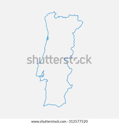 Map Black Outline Portugal Stock Vector Shutterstock - Portugal map outline