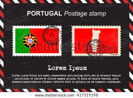 Portugal postage stamp, postage stamp, vintage stamp, air mail envelope. - stock vector