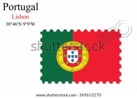portugal stamp design over stripy background, abstract vector art illustration, image contains transparency - stock vector