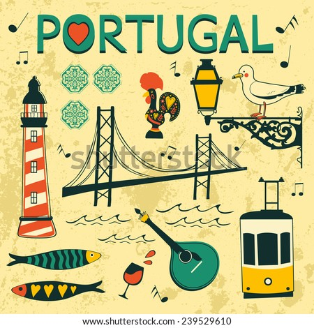 Portugal tipical icons collection. vector illustration - stock vector