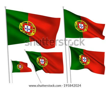 Portugal vector flags. A set of 5 wavy 3D flags created using gradient meshes. - stock vector