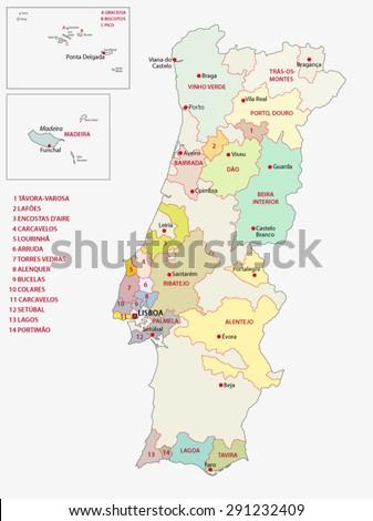 Portugal Wine Regions Map Stock Vector Shutterstock - Portugal map regions