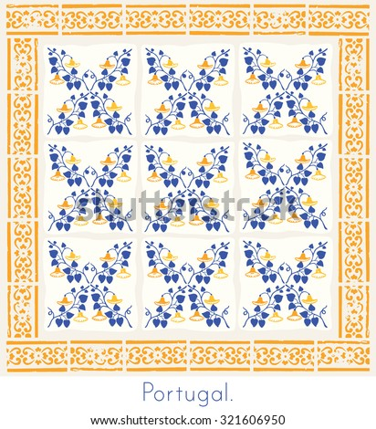 Portugese wall tiles in blue and yellow - stock vector