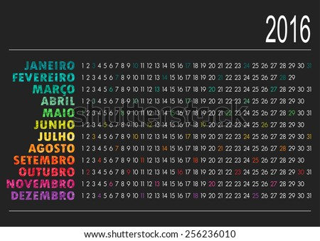 Portuguese calendar for year 2016, vector illustration