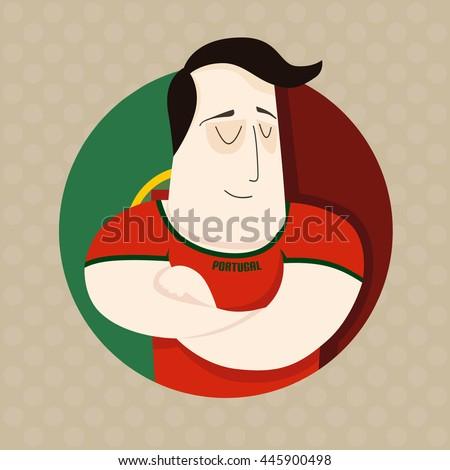 Portuguese football player  - stock vector