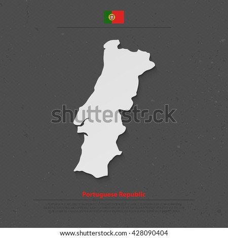 Portuguese Republic isolated map and official flag icon. vector Portugal political map flat style illustration. European State travel banner template  - stock vector