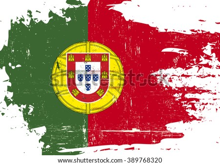 Portuguese scratched Flag. A portuguese flag with a grunge texture - stock vector