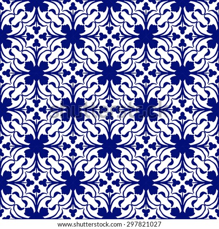 Portuguese traditional ornamental tile.  Seamless pattern. Vector illustration.