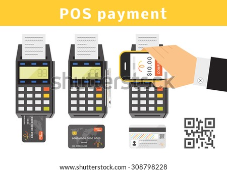 POS payment concept. Vector set of point of sail terminals, credit cards. Types of POS payments - stock vector
