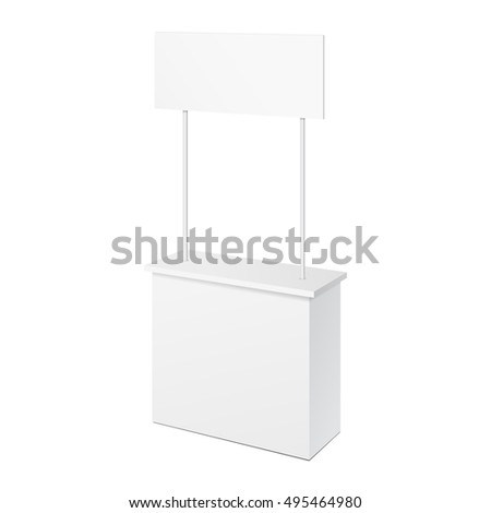 POS POI Blank Empty Retail Stand Stall Bar Display With Banner. On White Background Isolated. Mock Up Template Ready For Your Design. Product Packing Vector EPS10