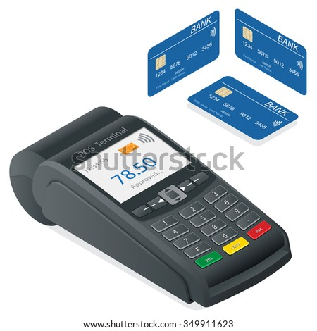 POS Terminal and debit credit card, POS Terminal online banking, POS machine,  Pos terminal in flat style, Pos payment, Illustration pos machine or credit card terminal, Credit card machine