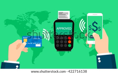 Pos terminal confirms the payment by smartphone and card. Near Field Communication payments concept. - stock vector