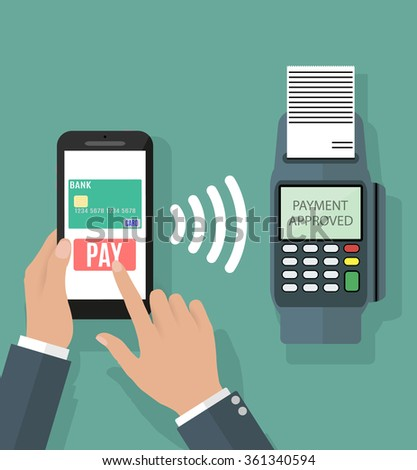 Pos terminal confirms the payment by smartphone. Vector illustration in flat design on green background. nfc payments concept - stock vector