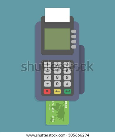 Pos terminal. Credit card reader machine with credit card. Flat style - stock vector
