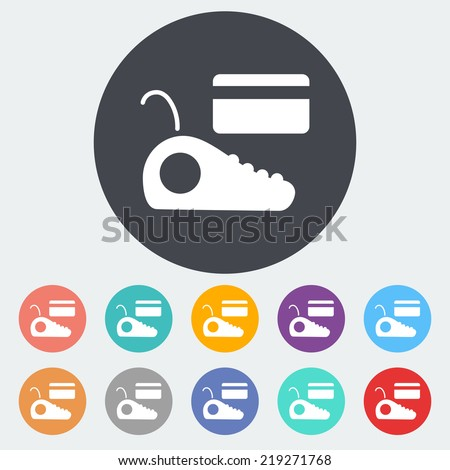 POS terminal. Single flat icon on the circle. Vector illustration. - stock vector