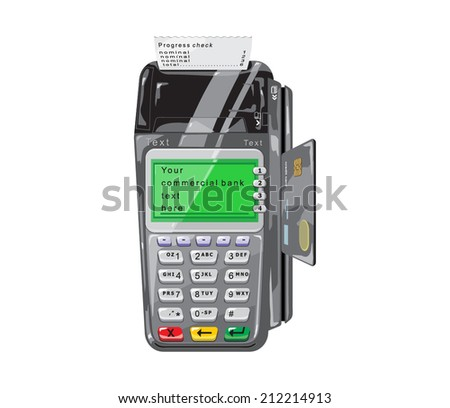 POS terminal with credit card and a check for white