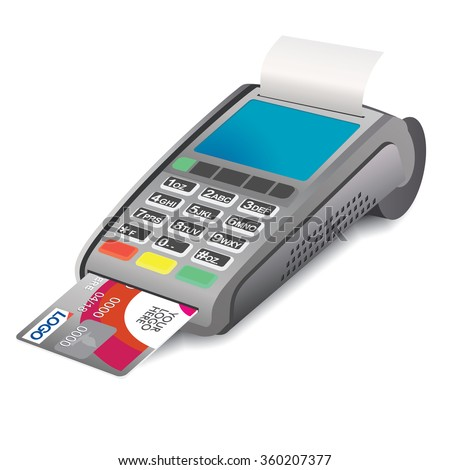 POS terminal with credit card and printed receipt on white background. POS terminal with inserted credit card - 3D illustration. Credit card and pos terminal. Interactive Information Pos Kiosk.