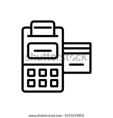 pos terminal credit card receipt outline stock vector 1055034803