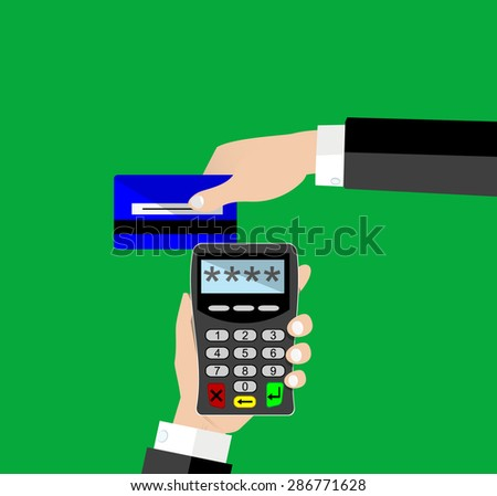 POS terminal with inserted credit card . Modern flat design element. EPS10 vector. - stock vector