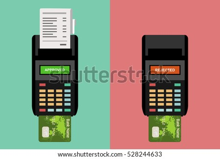 POS terminals with approved, receipts, inserted credit cards. Tick and rejected on displays. Checkout, terminal payment, pay with credit card concepts. Flat design graphic elements. Vector.