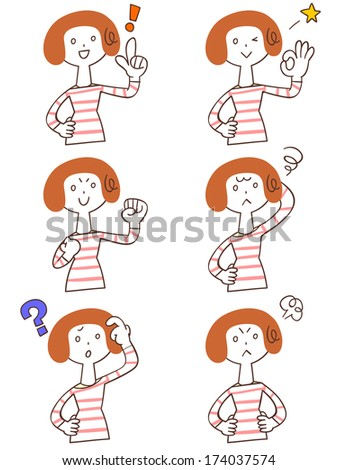 Pose and gesture of six young women - stock vector