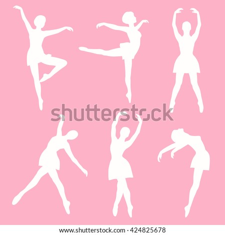 Poses ballet: hand drawn icon set vector. Big collection sketch objects. Colorful illustration - stock vector