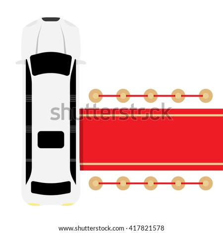 Posh white limousine top view parked near red carpet vector illustration - stock vector