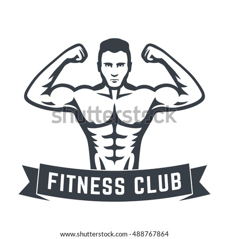 Posing athlete, strong bodybuilder, man showing his biceps, fitness club logo isolated on white