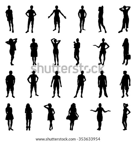 Posing people silhouettes - stock vector