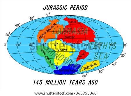 position Continents Jurassic Period - stock vector