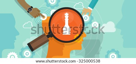positioning in consumer customer mind marketing market strategy concept position human head mind chess - stock vector