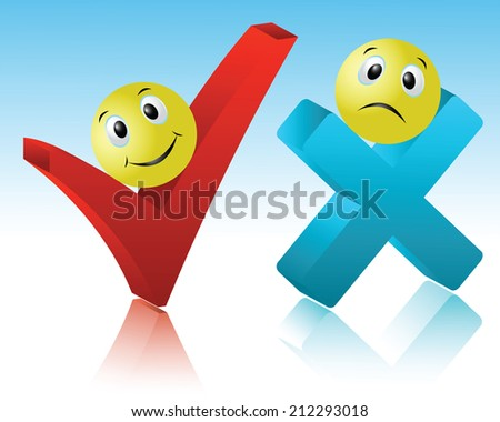 Positive and negative sign reflecting the close-up - stock vector