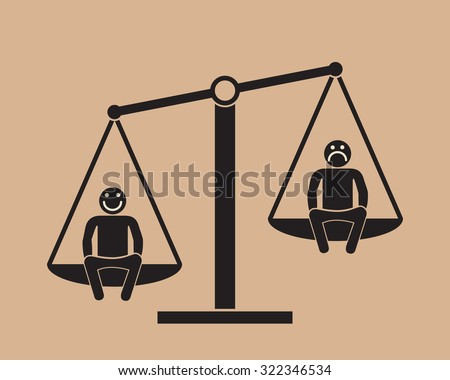 positive attitude as advantage:  two people on the scales - stock vector