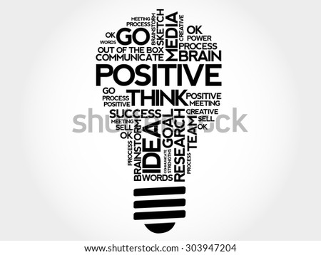 Positive bulb word cloud, business concept - stock vector