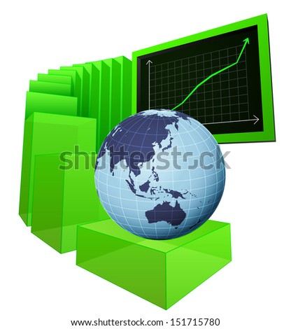 positive business results of Asian market vector illustration