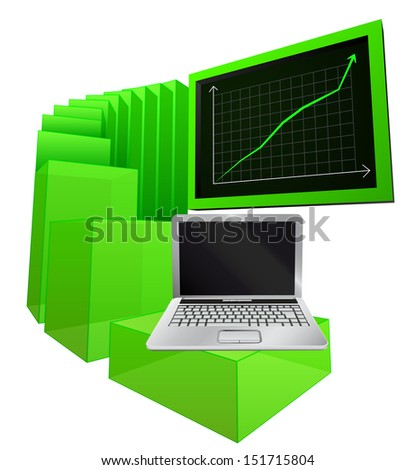 positive business results of notebook market vector illustration