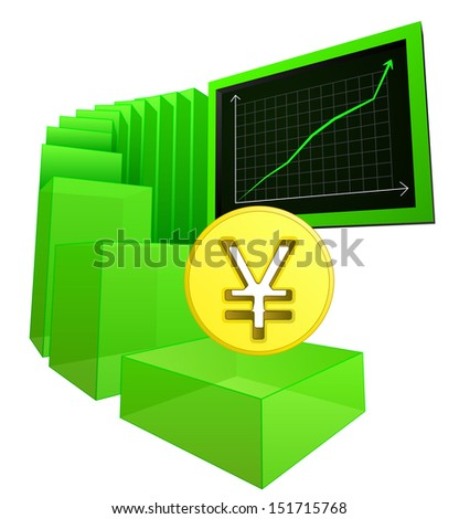 positive business results of yuan or yen vector illustration - stock vector