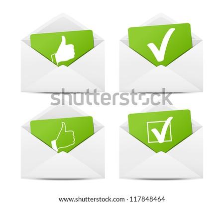 Positive choice envelopes - stock vector