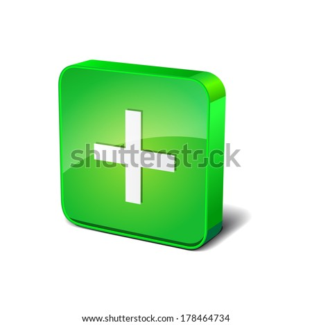 Positive 3d Rounded Corner Green Vector Icon Button - stock vector