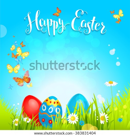 Positive easter background with flowers and eggs on a grass. Festive spring background  for design card, banner,ticket, leaflet and so on. Place for text. - stock vector