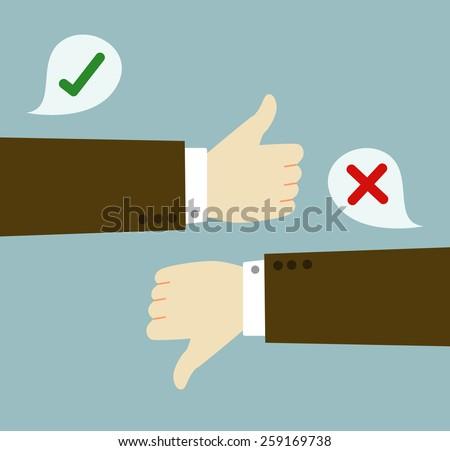 Positive feedback and negative feedback. graphic vector - stock vector