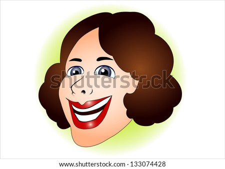 positive, happy face of a woman - stock vector