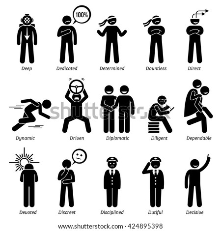 Positive Personalities Character Traits. Stick Figures Man Icons. Starting with the Alphabet D. - stock vector
