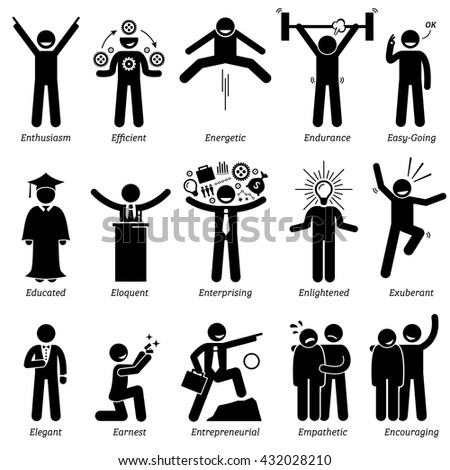 Positive Personalities Character Traits. Stick Figures Man Icons. Starting with the Alphabet E. - stock vector