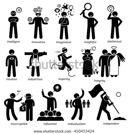 Positive Personalities Character Traits. Stick Figures Man Icons. Starting with the Alphabet I. - stock vector