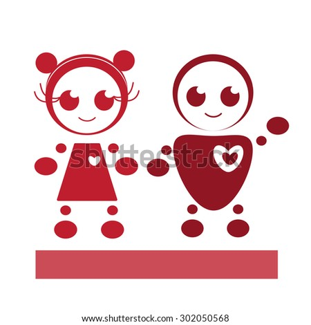Positive robots: a boy and a girl. - stock vector