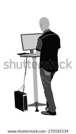 Positive seller or shop assistant in supermarket store, standing and working on computer.  - stock vector