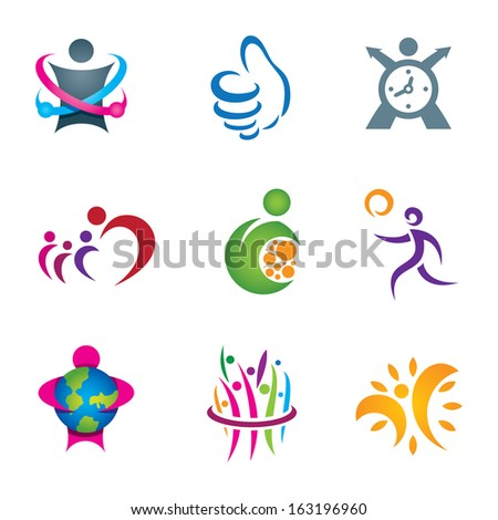 Positive social people exploring and living happy healthy life logo - stock vector