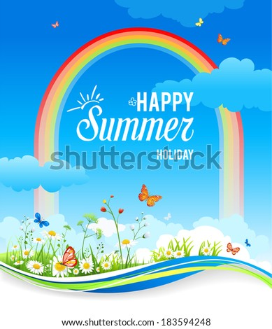 Positive summer background with rainbow, flowers and butterflies. Place for text - stock vector